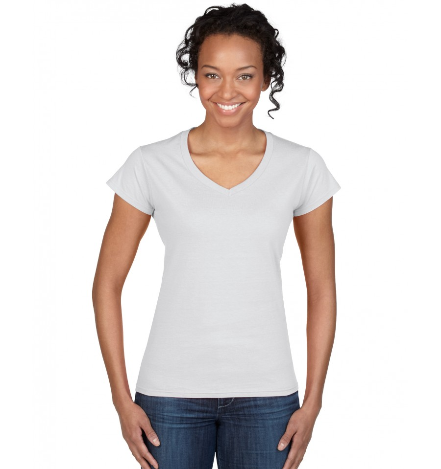 Gildan softstyle ladies v neck t shirt for Thick v neck t shirts