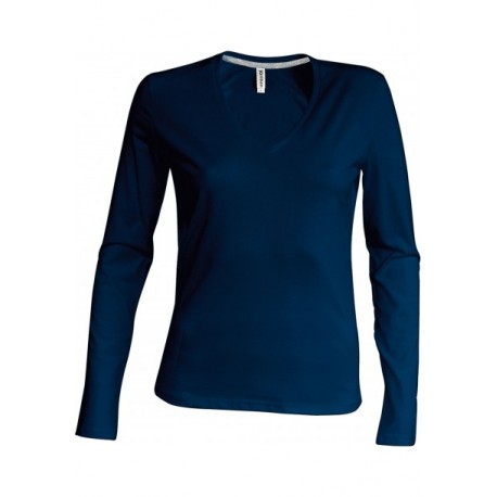 KARIBAN LADIES LONG SLEEVE V-NECK T-SHIRT