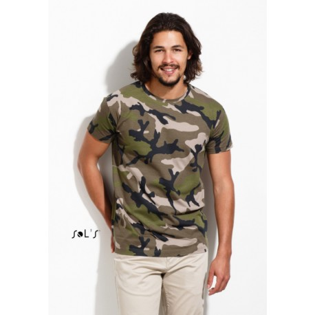 SOL'S CAMO MEN MENS ROUND COLLAR T-SHIRT