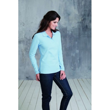 KARIBAN LADIES LONG SLEEVE PIQUE POLO SHIRT