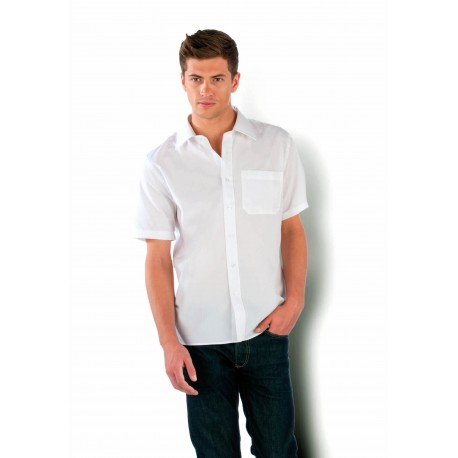 KARIBAN MENS SHORT SLEEVE EASY CARE COTTON POPLIN SHIRT