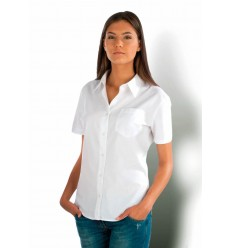 KARIBAN LADIES SHORT SLEEVE EASY CARE COTTON POPLIN SHIRT