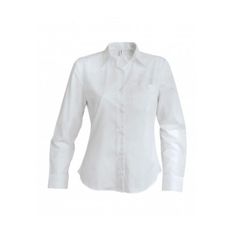 KARIBAN LADIES LONG SLEEVE EASY CARE COTTON POPLIN SHIRT