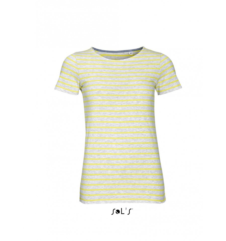 Sol s miles women round neck striped t shirt simple clothing for Round neck t shirts for ladies