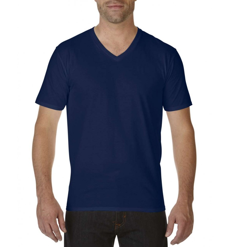Gildan premium cotton adult v neck t shirt simple clothing for Thick v neck t shirts